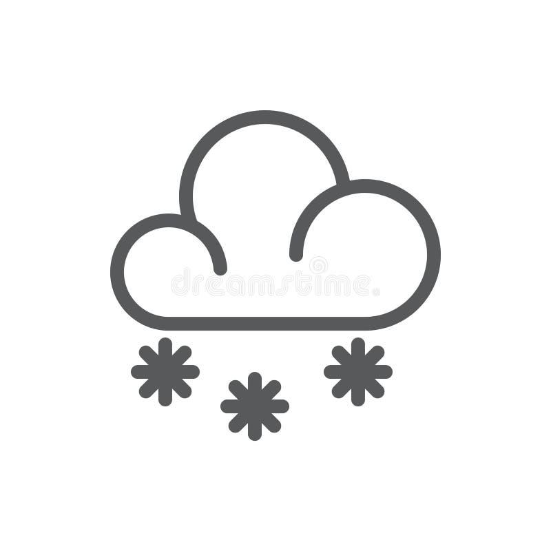 Núblese con el icono perfecto del pixel de los copos de nieve con el movimiento editable - elemento estacional del invierno del t stock de ilustración