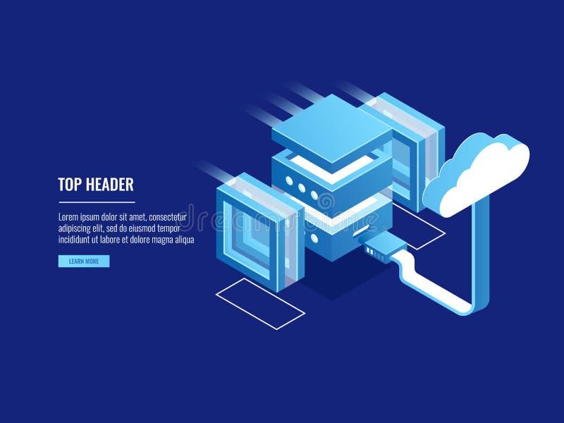 Núblese el almacenamiento, web server remoto que recibe, almacén de información, conncetion del acceso a archivos isométrico stock de ilustración