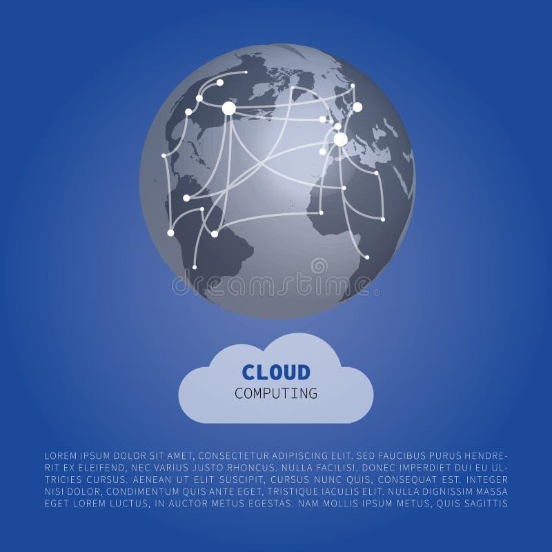 Núblese el concepto de diseño computacional con las conexiones del mapa del mundo - conexiones de red de Digitaces, fondo de la t ilustración del vector