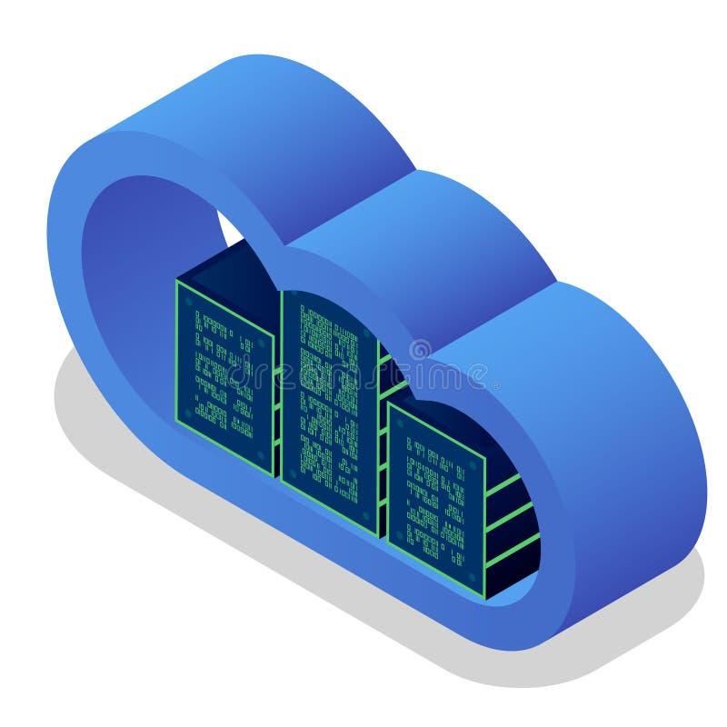 Núblese el concepto isométrico de la tecnología, servicios computacionales modernos Almacenamiento digital integrado de la nube d stock de ilustración
