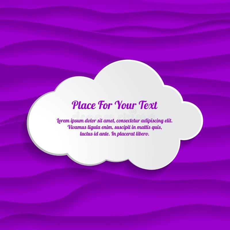 núblese el cuadro de texto en el fondo ultravioleta del extracto 3d con ilustración del vector