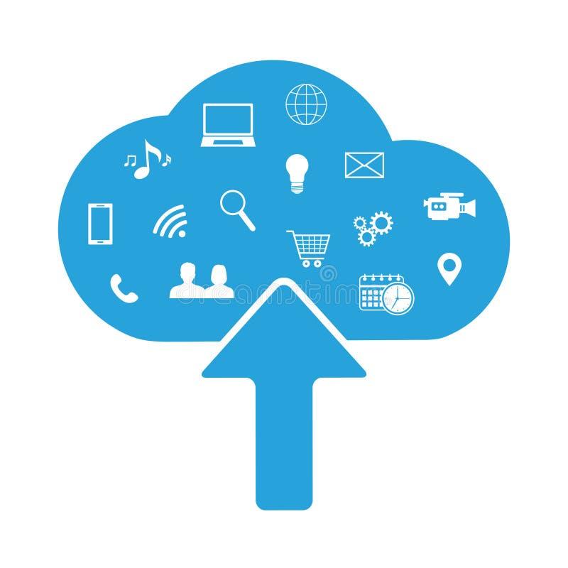 Núblese el ejemplo de redes sociales y tecnológicas, hecho con los iconos libre illustration