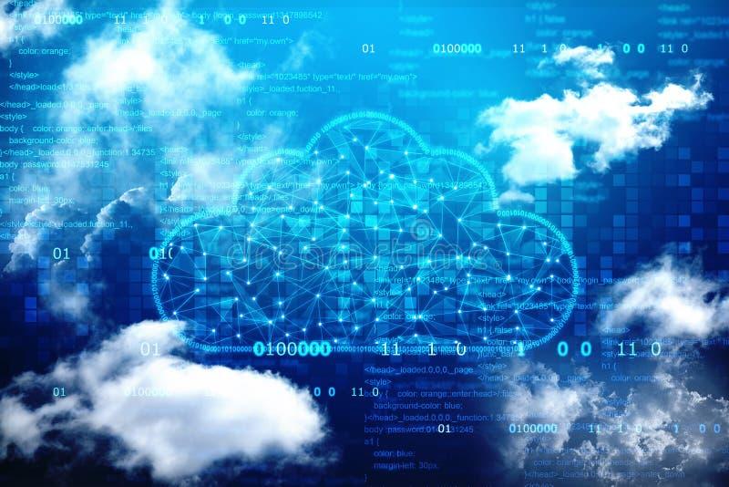 Núblese el fondo computacional del concepto, fondo abstracto de Digitaces, fondo de la tecnología de Internet de la nube fotos de archivo libres de regalías