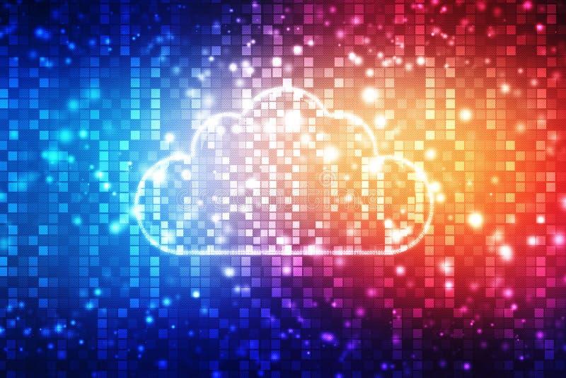 Núblese el fondo computacional del concepto, fondo abstracto de Digitaces, fondo de la tecnología de Internet de la nube stock de ilustración