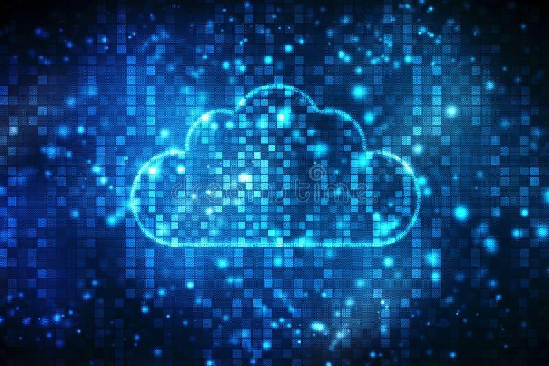 Núblese el fondo computacional del concepto, fondo abstracto de Digitaces, fondo de la tecnología de Internet de la nube ilustración del vector