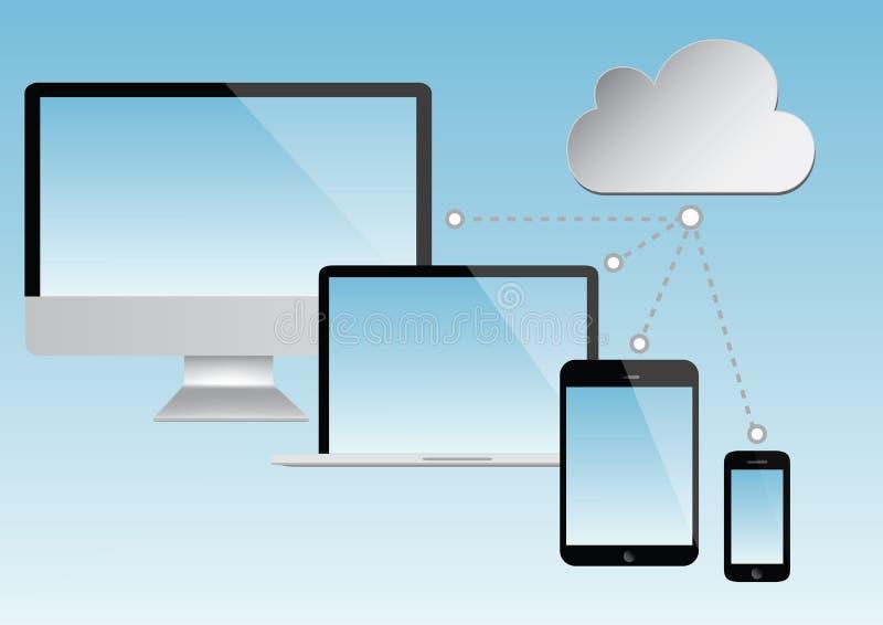 Núblese el gráfico computacional - vector del ordenador portátil, de la tableta y del smartphone libre illustration