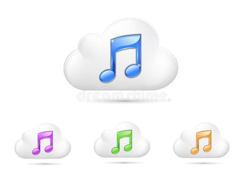 Núblese el icono con la música symble, aislado en el fondo blanco stock de ilustración