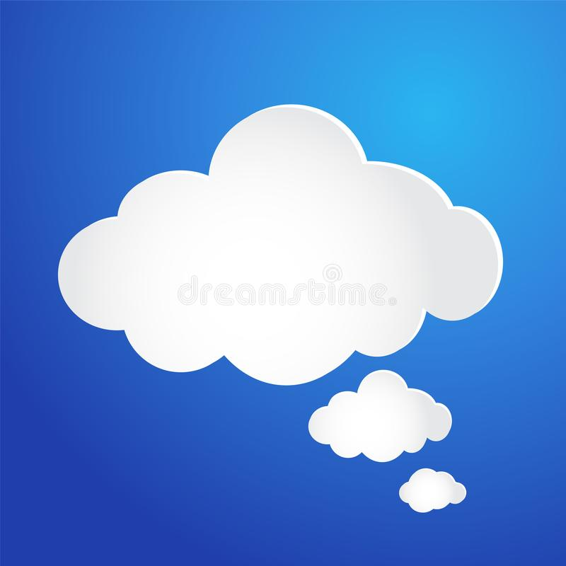 Núblese el icono de la burbuja en el fondo azul, ejemplo común del vector stock de ilustración