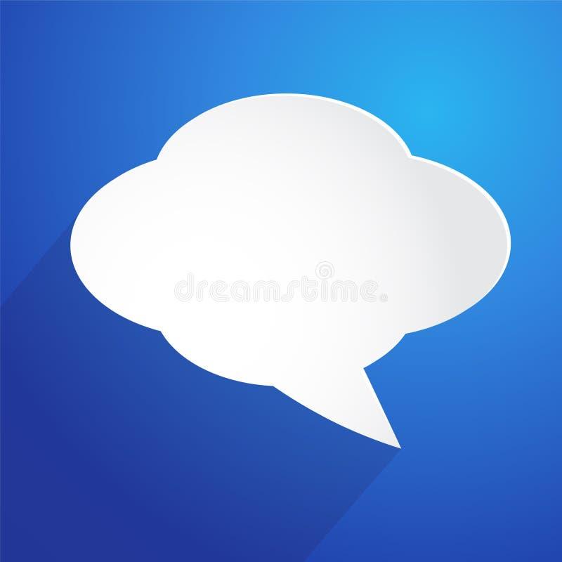 Núblese el icono de la burbuja en el fondo azul, ejemplo común del vector libre illustration