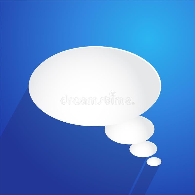 Núblese el icono de la burbuja en el fondo azul, ejemplo común del vector ilustración del vector