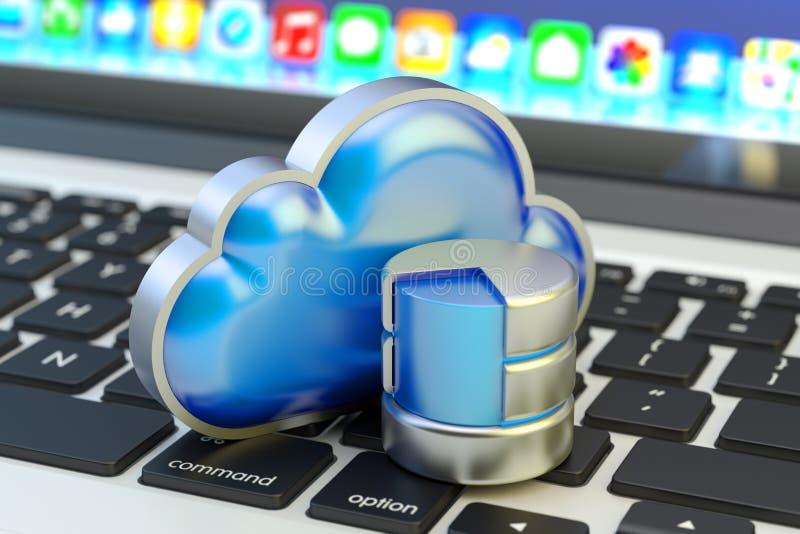Núblese el servicio computacional, el almacenamiento de datos remotos y el concepto de la tecnología de red ilustración del vector