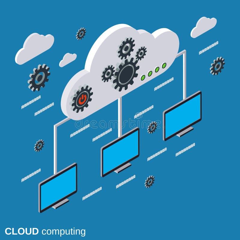 Núblese la computación, red, concepto del vector del almacenamiento remoto stock de ilustración