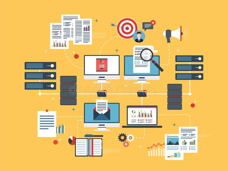 Núblese los dispositivos, la red de datos y la inteligencia empresarial computacionales stock de ilustración