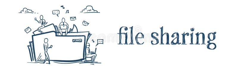 Núblese a los empresarios del concepto del servicio del compartir archivos de la carpeta del almacenamiento de datos que trabajan libre illustration