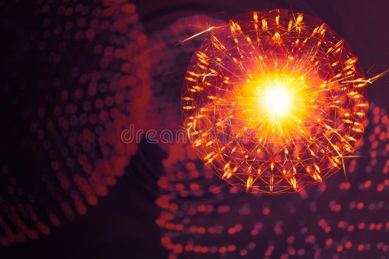 Núcleo da estrutura da molécula do átomo com modelo nano da ilustração da ciência da física da luz da radiação imagens de stock