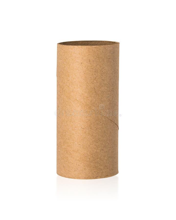 Núcleo dos tecidos de Brown isolado no fundo branco Rolo de papel vazio ou para reciclar o cartão Trajetos de grampeamento ou par fotografia de stock