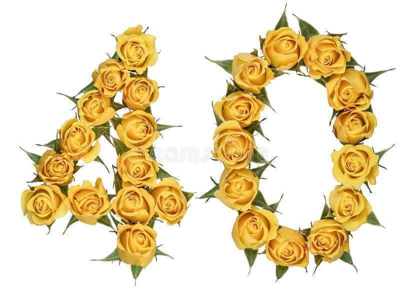 Número árabe 40, cuarenta, de las flores amarillas de color de rosa, aisladas foto de archivo