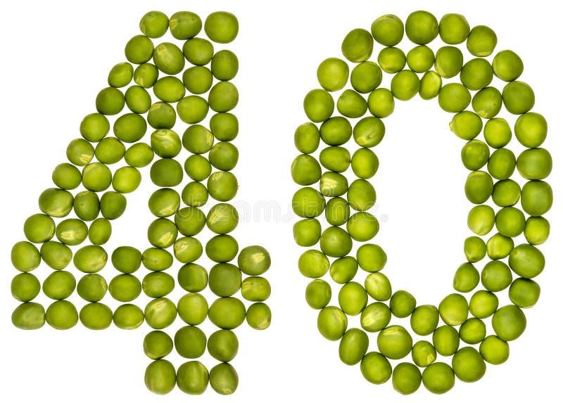 Número árabe 40, cuarenta, de los guisantes verdes, aislados en el CCB blanco fotos de archivo