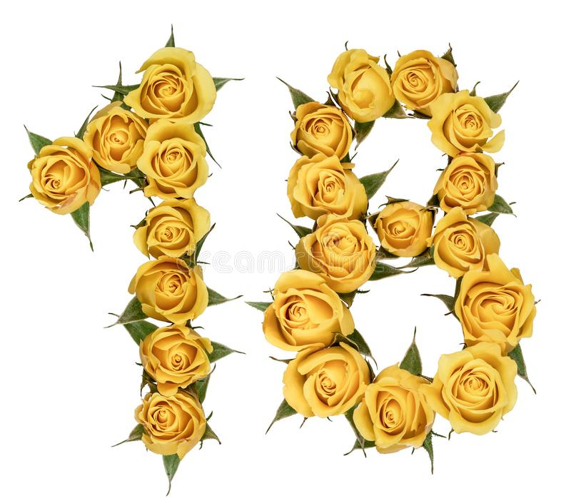 Número árabe 18, dieciocho, de las flores amarillas de la rosa, isolat imagenes de archivo