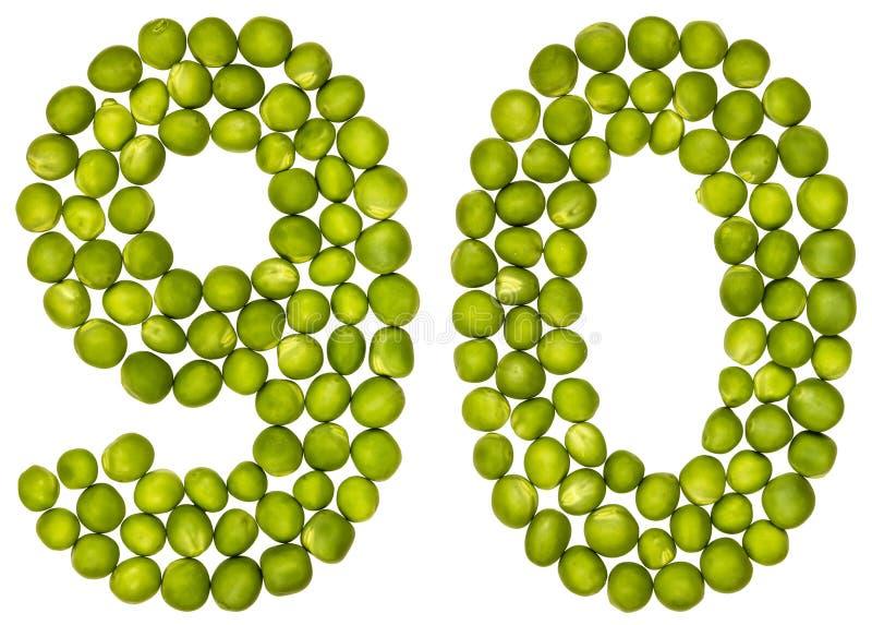 Número árabe 90, noventa, de los guisantes verdes, aislados en los vagos blancos fotos de archivo libres de regalías
