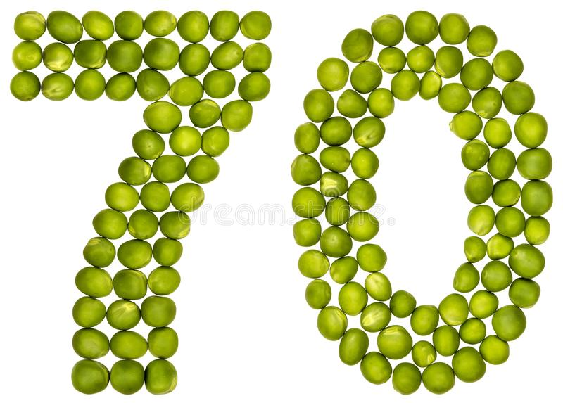 Número árabe 70, setenta, de los guisantes verdes, aislados en b blanco fotos de archivo