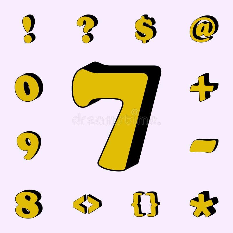 número 8, ícone 3D grupo universal dos ícones das palavras 3D para a Web e o móbil ilustração do vetor