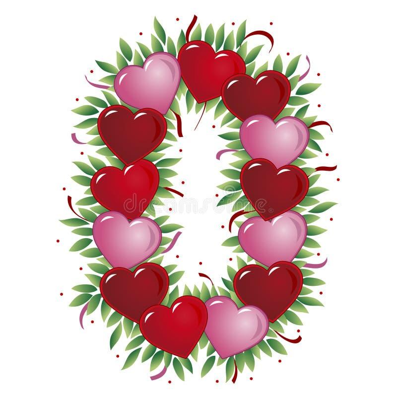 Número 0 - Coração do Valentim ilustração stock