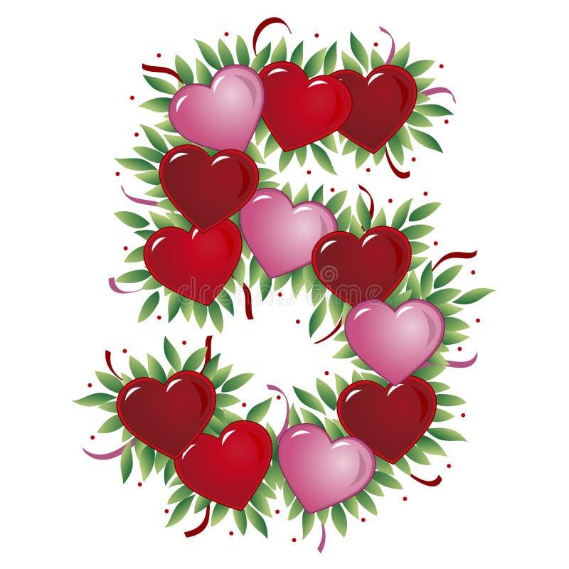 Número 5 - Coração do Valentim ilustração royalty free