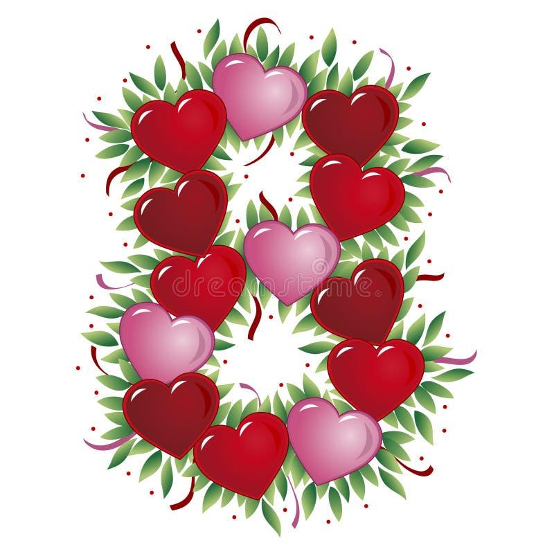 Número 8 - Coração do Valentim ilustração do vetor
