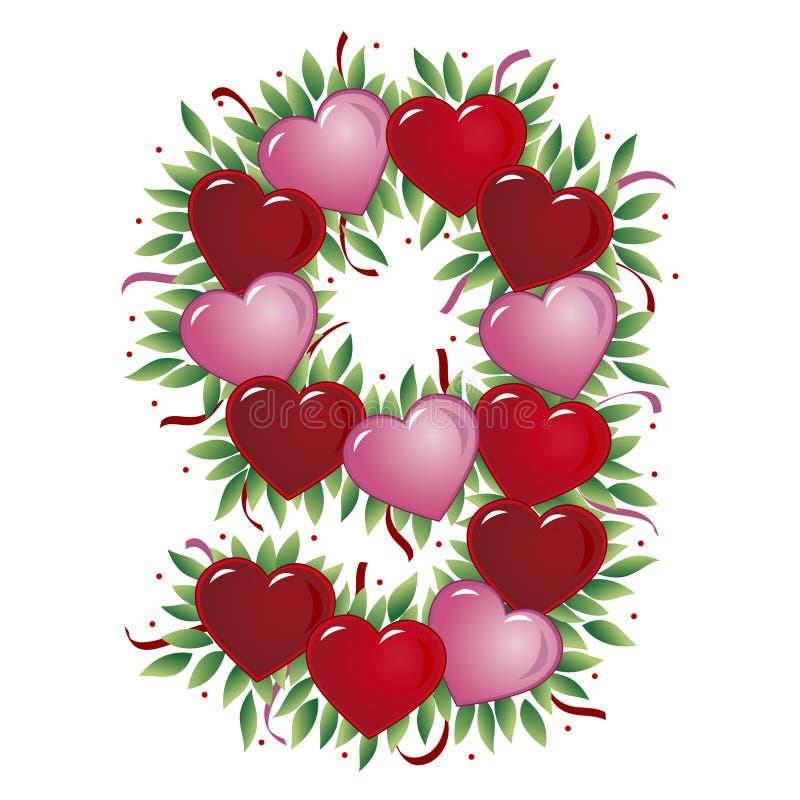 Número 9 - Coração do Valentim ilustração royalty free