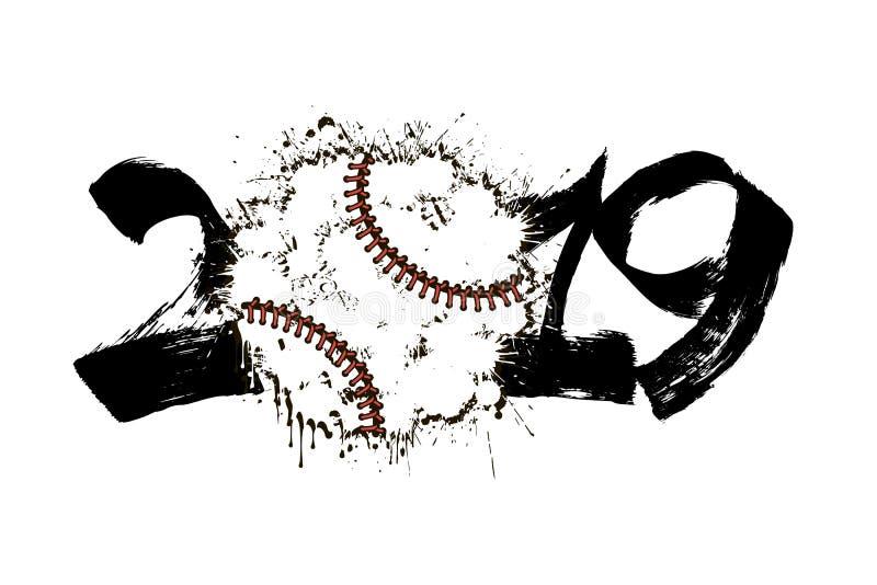 Número abstracto 2019 y bola del béisbol de manchas blancas /negras ilustración del vector
