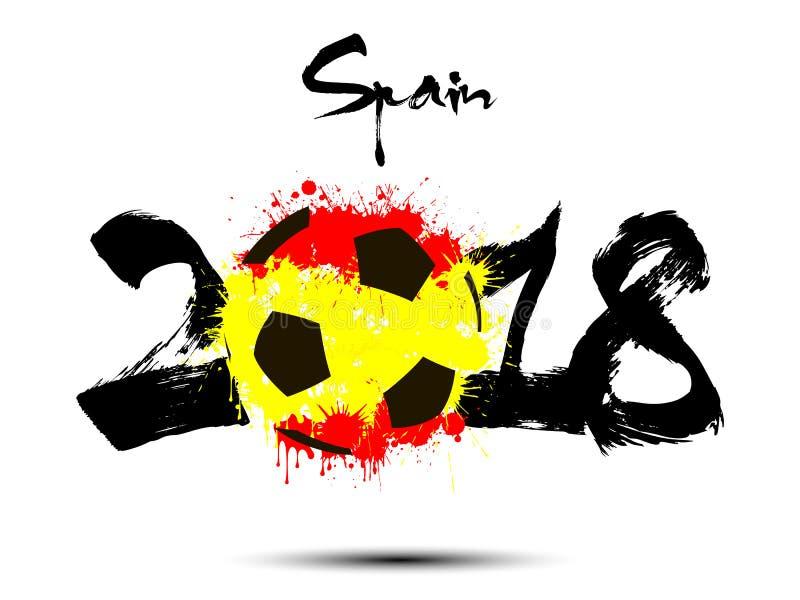Número abstracto 2018 y mancha blanca /negra del balón de fútbol ilustración del vector