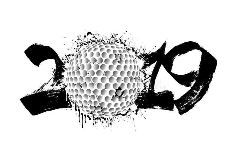Número abstrato 2019 e uma bola de golfe das manchas ilustração royalty free