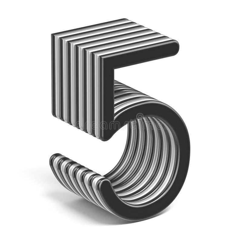 Número acodado blanco y negro 5 CINCO 3D ilustración del vector