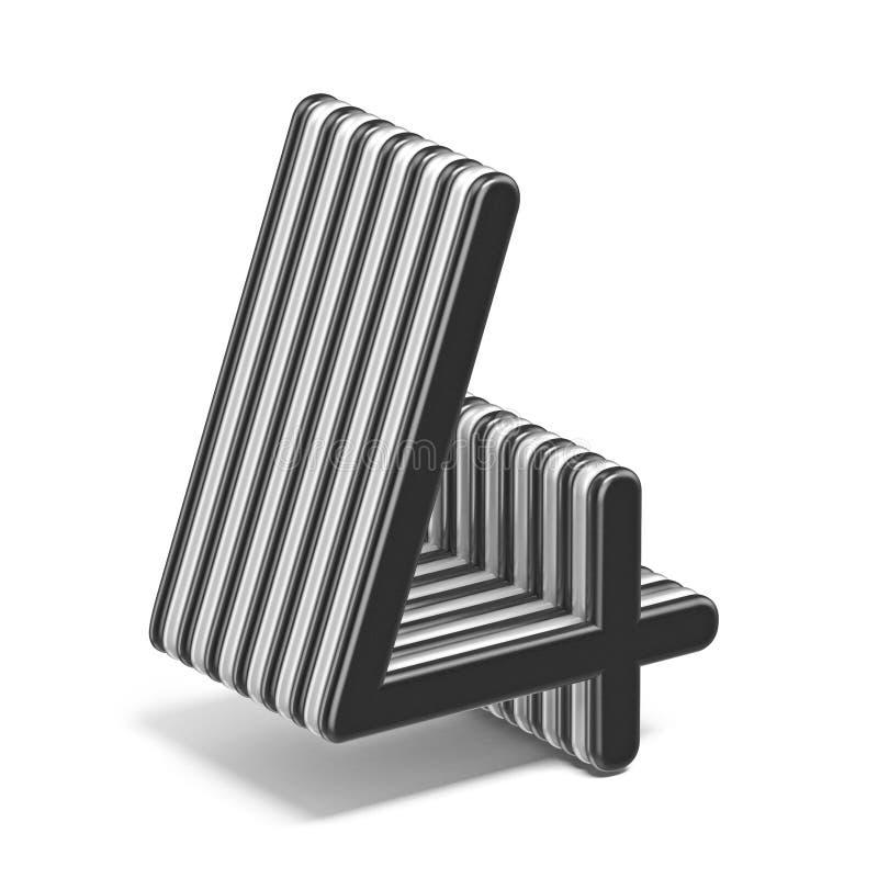 Número acodado blanco y negro 4 CUATRO 3D libre illustration