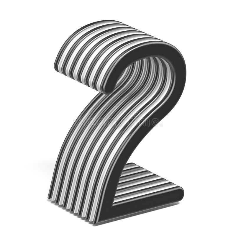 Número acodado blanco y negro 2 DOS 3D libre illustration