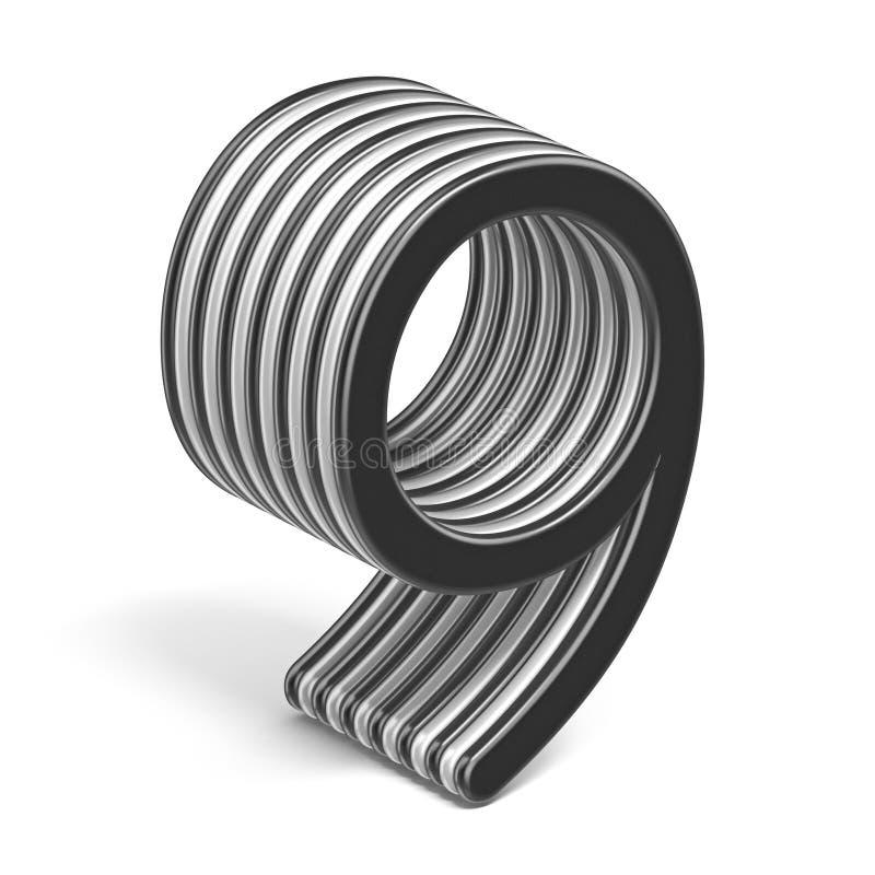 Número acodado blanco y negro 9 NUEVE 3D ilustración del vector