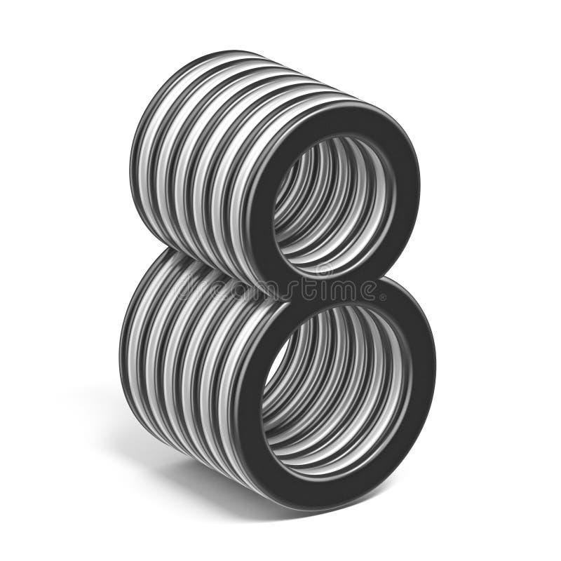 Número acodado blanco y negro 8 OCHO 3D libre illustration