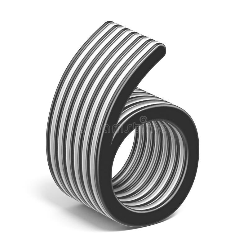 Número acodado blanco y negro 6 SEIS 3D stock de ilustración