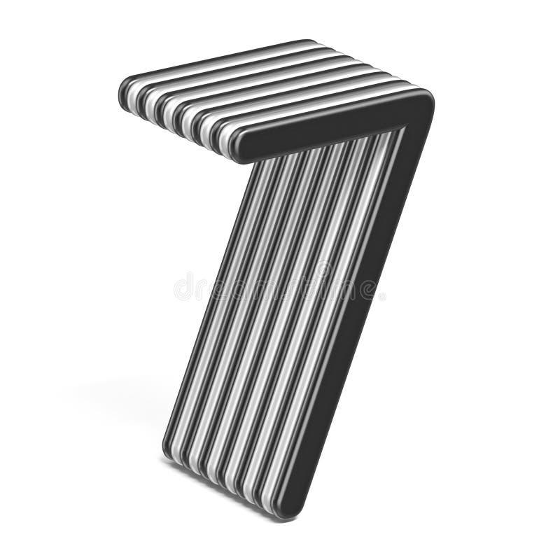 Número acodado blanco y negro 7 SIETE 3D libre illustration