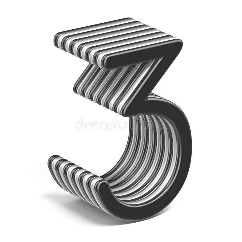 Número acodado blanco y negro 3 TRES 3D ilustración del vector