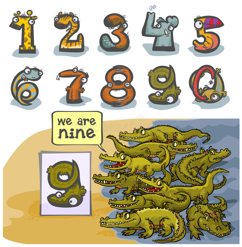 Número animal nueve de la historieta ilustración del vector