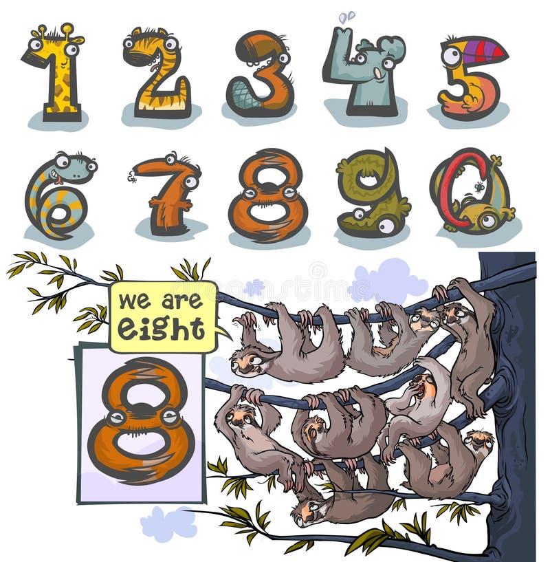 Número animal ocho de la historieta ilustración del vector