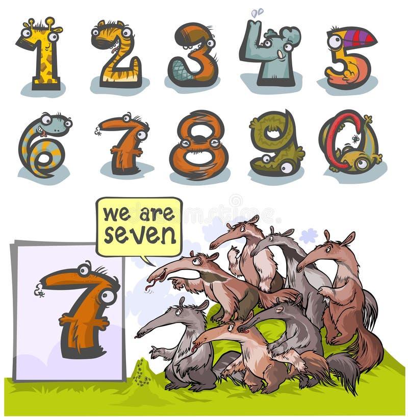 Número animal siete de la historieta ilustración del vector