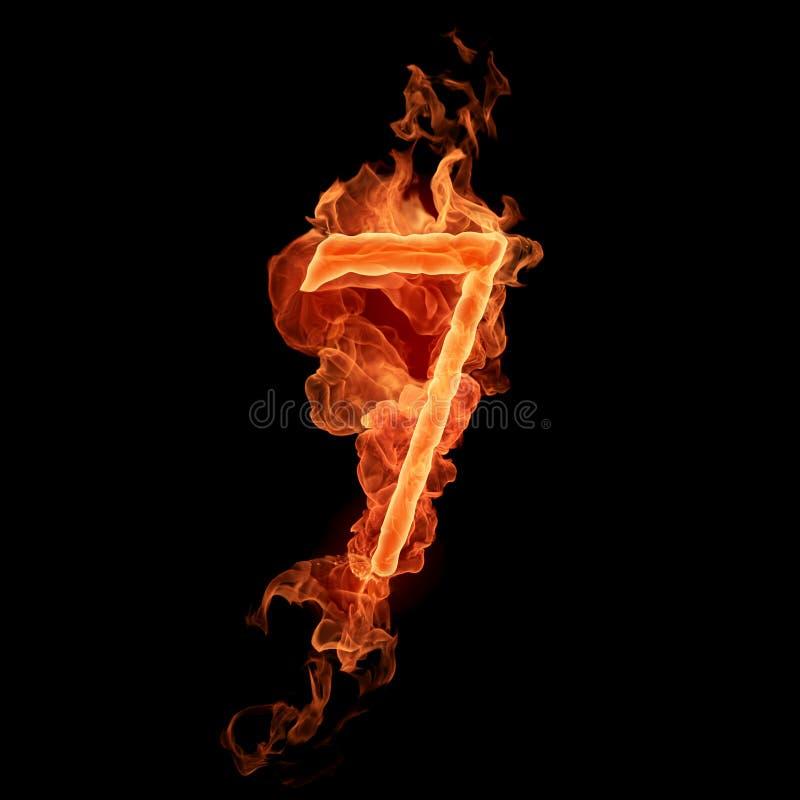 Número ardiente 7 ilustración del vector