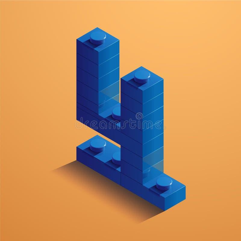Número azul quatro de tijolo do consructor no fundo amarelo tijolo de 3D Lego Ilustração do vetor ilustração stock