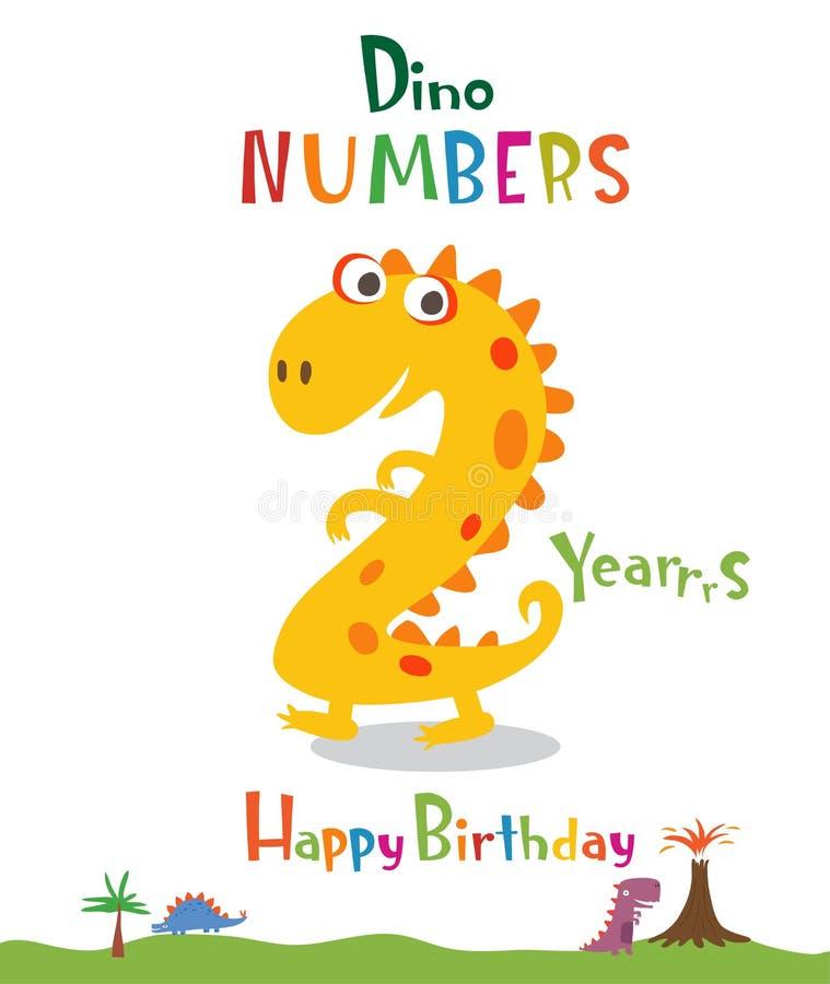 Número 2 bajo la forma de dinosaurio ilustración del vector