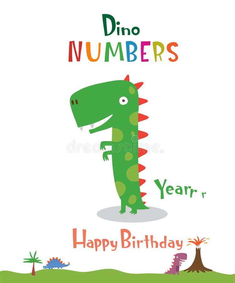 Número 1 bajo la forma de dinosaurio ilustración del vector