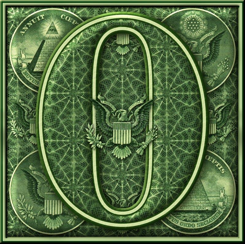 Número cero presentado con un tema iluminado del dinero ilustración del vector