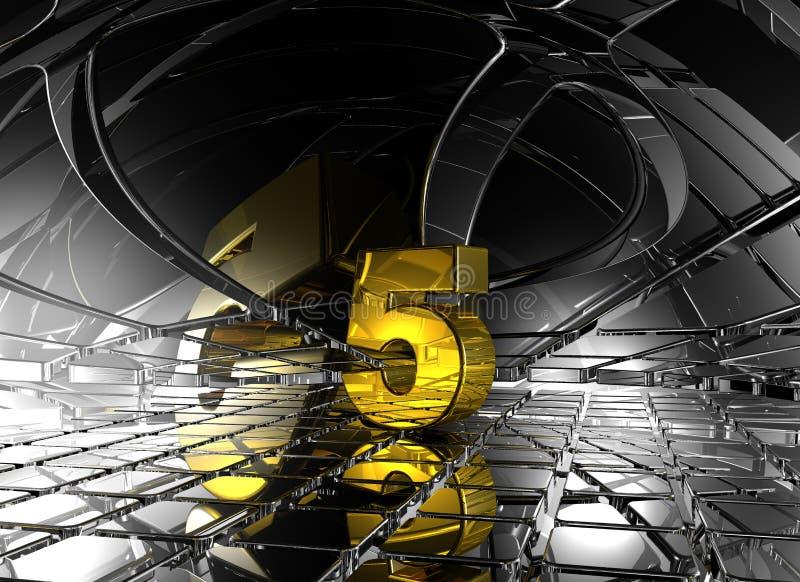 Número cinco no espaço futurista abstrato ilustração stock